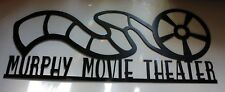 """Personalized Metal Wall Art Home Decor Movie Theater Reel Sign Large 35"""" Black"""