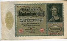 1922 10000 MARK (J) Series GERMANY REICHSBANKNOTE VAMPIRE NOTE