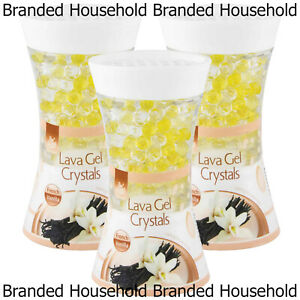 3 x PAN AROMA LAVA GEL CRYSTALS AIR FRESHENER FRENCH VANILLA HOME OFFICE 150G