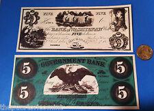 TWO $5 DC GOV BANK & $5 Washtenaw MICHIGAN UNION STATES Civil War FACSIMILE Note