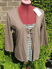 BNWT-ALICE COLLINS  STRETCH COTTON CARDIGAN TOP WITH VEST PANEL INSERT-UK 12.