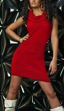 Sexy Miss punto señora mini vestido cuello de tortuga Long suéter suéter 34/36/38 nuevo top rojo