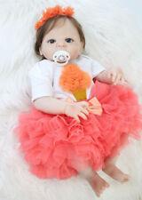 "Lifelike 22"" Reborn Baby Girl Full Silicone Newborn Dolls Rooted Hair Waterproof"
