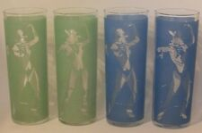 VINTAGE DRINKING GLASSES W COWBOYS & COWGIRLS IN FROSTED BLUE & GREEN DECORATION