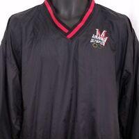 Academic Olympics Mens Windbreaker Jacket Vintage 90s Pullover Black Size  Large 918011e4bbd1