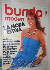 BURDA MODEN MODA ESTIVA 6 GIUGNO 1982 TESTO IN TEDESCO FEMMINILE CUCITO RICAMO