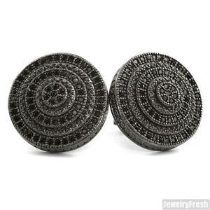 Jumbo Large Black Bullseye Round CZ Stud Earrings