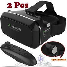 2 X 3D VR Realidad Virtual Caja shinecon Auriculares Gafas Para iPhone Android + Control Remoto