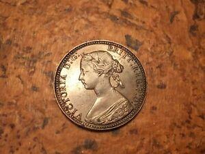 1860 Half Penny Copper Victoria Great Britain English Coin Brown AU