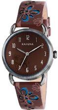 Kahuna Ladies Womens Brown Blue Cut out Leather Strap Wrist Watch Kls-0249l