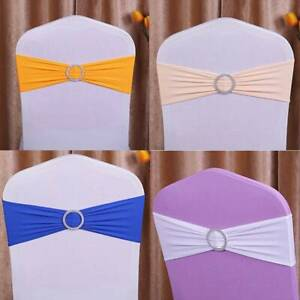 5pcs Spandex Stretch Wedding Party Chair Cover Band Sash Bow w/ Buckle Slider US