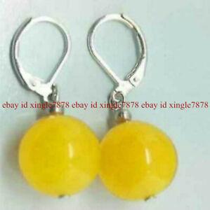 Natural 12mm Yellow Jade Gemstone Round Beads Leverback Dangle Earrings AAA