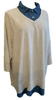 1X Sonoma Layered Look Women's Oatmeal Sweatshirt with Denim Collar Plus Size
