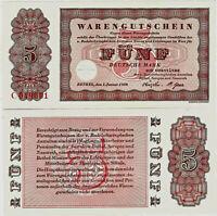 Banknote Warengutschein UNC 5 Deutsche Mark 1958 Bethel P-NLB4 SEHR SELTEN