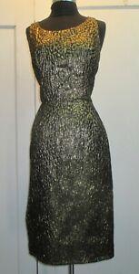 Vintage 1950's gold lame metallic single dress sz M