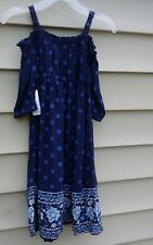 OLD NAVY  GIRLS DRESS 2t  OFF THE SHOULDER  BLUE FLORAL  RAYON