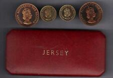 1957 Bailiwick of Jersey 4 Proof Coin Set housed in a red case Royal-Mint-