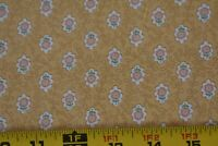 By 1/2 Yd, Vintage, Pink & Green Calico on Gold Polished-Cotton, Weilwood, P956