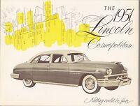 [60710] 1951 LINCOLN COSMOPOLITAN CAR MODELS BROCHURE