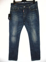 D-squared2 Mens Denim Jeans Slim Tapered Dark Blue 36W 32L Made in Italy