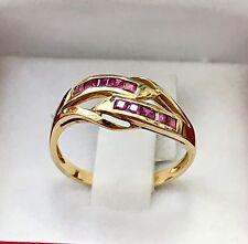 14k Solid Yellow gold Natural Ruby ring 0.25 ct 2.00 grams bypass princess cut