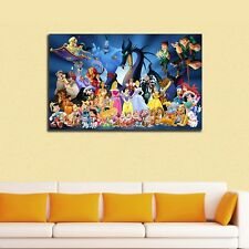 Disney Characters Stretched Canvas Prints Framed Wall Art Kids Nursery Decor 50×80×3cm