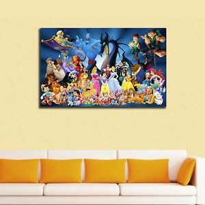 30×50×3cm Disney Characters Stretched Canvas Prints Framed Wall Art Kids Decor