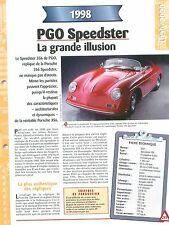 PGO Speedster 1998  France  Car Auto FICHE FRANCE
