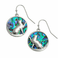 Cat Earrings Paua Abalone Shell Womens Silver Fashion Jewellery 25mm Gift Boxed