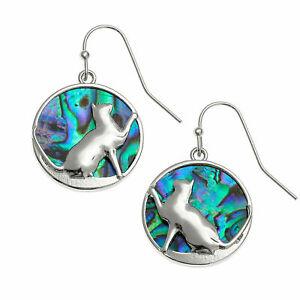 Cat Earrings Paua Abalone Shell Womens Silver Fashion Jewellery 25mm Gift Boxed