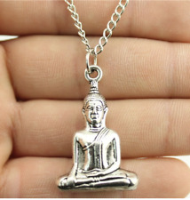 Sitting Buddha Pendant Buddhist Thai 3d Chain Necklace Silver Tone Jewellery