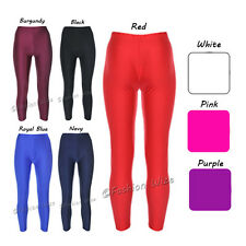Girls Leotard Leggings Shiny Dance Gymnastics Stretchy Sports Pink Red Navy