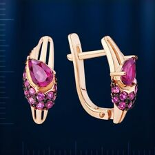 Russische Rose Gold 585 Ohrringe mit Rhodolith Granate Rhodolite earrings !