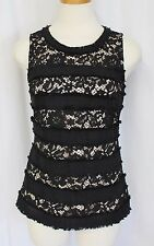 J Crew Fringey Top In Tweed And Lace Black Nude Size Small New G0356 $78