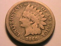 1860 Ch Good Indian Head Cent Original Brown No Problems Small Penny US Coin