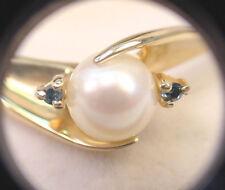 CULTURED AKOYA WHITE PEARL 6.77 mm w/ .035 TCW BLUE GREEN DIAMONDS 14K GOLD RING