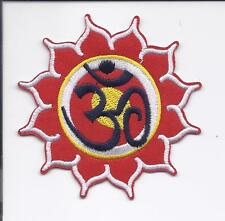 "3"" Red & White Lotus OM ॐ Iron On Embroidered Patch patches Free Shipping ohm"