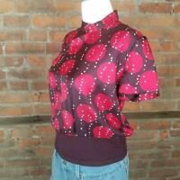 Vintage Armand Ventilo Womens Brown w/ red White Dots Size 40/S Top Assymetric