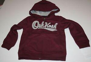 New OshKosh Boys 6 yr Gray Logo Burgundy Red Full Zip Up Sweatshirt Hoodie Top