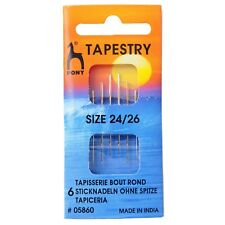 PONY SIZE 24 / 26 TAPESTRY HAND SEWING NEEDLES - GOLD EYE - BLUNT TIP -PACK OF 6