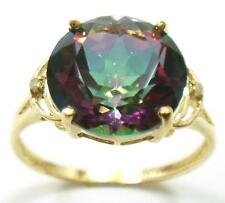 NICE 10KT YELLOW GOLD ROUND 10MM MYSTIC TOPAZ & DIAMOND RING SIZE 7    R1422