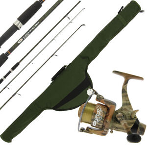 NGT Carp Fishing Rod 8ft 2pc Camo with Reel 3BB 12lb Line + 8ft Rod Holdall