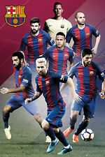 "2016-17 FC BARCELONA PLAYERS COLLAGE POSTER 24"" X 36"" NEYMAR/MESSI/SUAREZ"