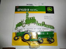 """NEW John Deere Styled """"B""""Tractor w/Flare Box Wagon, 1/64 Scale  Ages 3+ (45189)"""