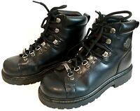 Harley Davidson Womens Steel Toe Work Boots Riding Boots Black Leather US Size 6