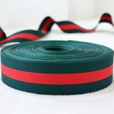 Red & Hunter Green Grosgrain Ribbon Featuring Gucci Stripe Colors