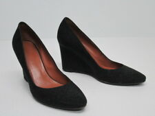 6e4561a3a1b7 AQUATALIA MADE IN ITALY BLACK FABRIC LEATHER WEDGE PUMP Size WOMEN S 9