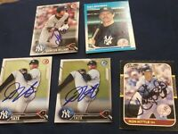 lot 5 new york yankees signed cards autographed card my mlb baseball yankee