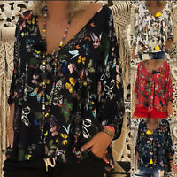 Plus Size Women Floral Print V Neck Long Sleeve Tops Blouse Summer Boho T-Shirt