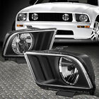 For 05-09 Ford Mustang S197 Pair Black Housing Headlight Replacement Head Lamps
